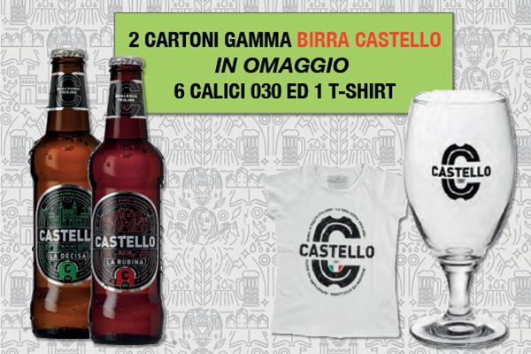 Promozione birra Castello omaggio bicchieri e t-shirt