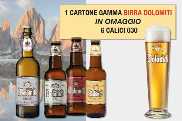 Promo birra Dolomiti omaggio 6 calici