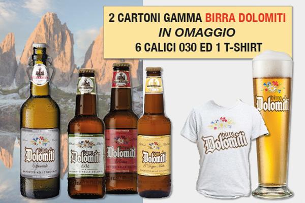 Promo birra Dolomiti omaggio 6 calici e t-shirt