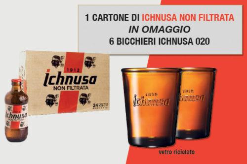 Promozione birra Ichnusa non filtrata 033 omaggio bicchieri