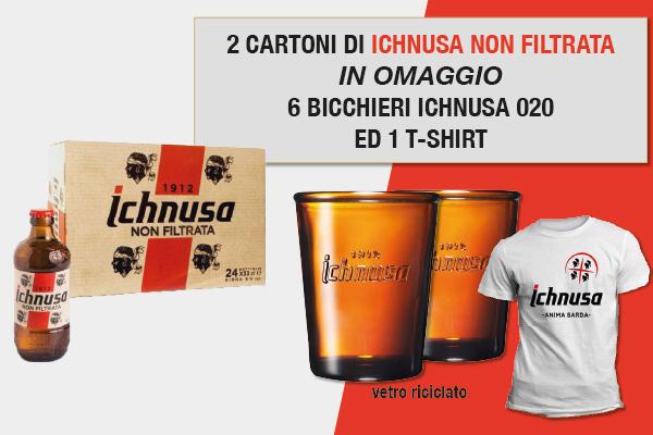 Promozione birra Ichnusa non filtrata 033 omaggio bicchieri e t-shirt